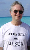 Richard Dawkins wearing my shirt